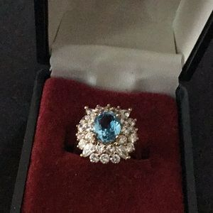 Faux Aquamarine and diamond ring.
